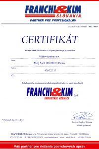 Certifikát Franchi Kim Slovakia-s.r.o. pre Výškové práce s.r.o.