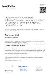 Autorizovaný pre používanie bezpečnostných zariadení FALLPROTEC - Výškové práce s.r.o
