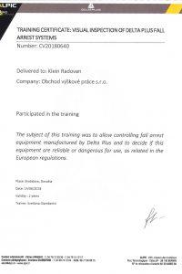 Revízie Delta Plus - Certifikát pre Výškové práce s.r.o.