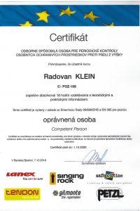 Certifikát OOPP pre Výškové práce s.r.o.